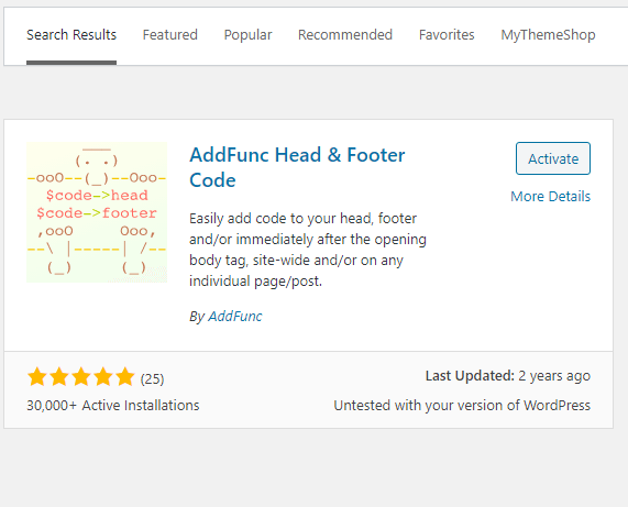 AddFunc Head & Footer Code Plugin